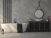 De industriële badkamers van de zolderstijl met opgepoetste concrete 3d geeft terug royalty-vrije illustratie