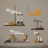 De industriële bouw fabriek en elektrische centralespictogram stock illustratie