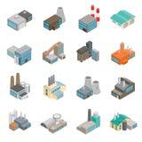 De industriële bouw fabriekspictogrammen royalty-vrije illustratie