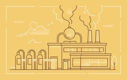 De industriële bouw - moderne de stijl vectorillustratie van het lijnontwerp royalty-vrije illustratie