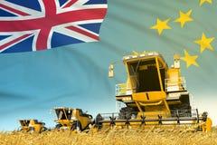 De industriële 3D illustratie van gele landelijke landbouw maaidorser op gebied met Tuvalu vlagachtergrond, de voedselindustrie stock illustratie