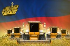 De industriële 3D illustratie van heel wat gele landbouw maaidorsers op tarwegebied met de vlagachtergrond van Liechtenstein - vo vector illustratie