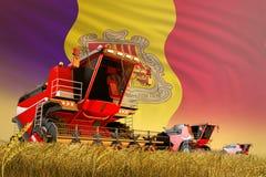 De industriële 3D illustratie van landbouw maaidorser die aan landelijk gebied met de vlagachtergrond van Andorra werken, voedsel royalty-vrije illustratie