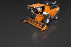 De industriële 3D illustratie van reusachtig mooi oranje landbouwbedrijf landbouw maaidorser voor hoogste mening met bezinning ov vector illustratie