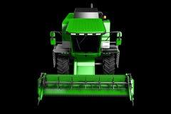 De industriële 3D illustratie van de reusachtige groene rogge van CG landbouw maaidorser hoogste die mening op zwarte wordt geïso stock illustratie