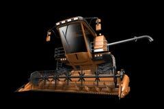 De industriële 3D illustratie van reusachtige mooie oranje landelijke landbouw maaidorser met korrelpijp losgemaakt vooraanzicht royalty-vrije illustratie