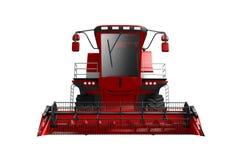 De industriële 3D illustratie van reusachtige mooie rode die rogge landbouw maaidorser vooraanzicht op wit wordt geïsoleerd royalty-vrije illustratie