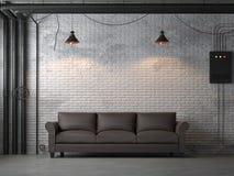 De industriële 3d woonkamer van de zolderstijl geeft terug stock illustratie