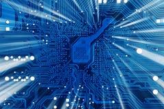 De industriële elektronische blauwe achtergrond van technologie stock afbeelding