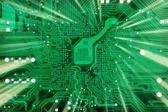 De industriële elektronische groene achtergrond van technologie stock foto