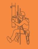 De industriële klimmer herstelt rioolbuis De klimmers wassen vensters bij de Toren van TV van Berlijn Vector Stock Afbeelding