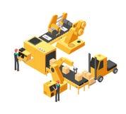 De industriële lijn van de productietransportband met verpakkend materiaal en fabrieksarbeiders 3d isometrische vectorillustratie stock illustratie