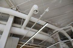 De industriële pijpen van de staalventilatie Stock Fotografie