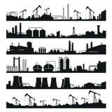 De industri?le reeks van het fabriekenpanorama, zwart de bouw silhouet vector illustratie