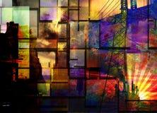 De Industriële Samenvatting van de stad Stock Afbeeldingen