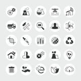 De industrie en ecologie totale vectorpictogramreeks Stock Foto