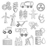 De industrie en ecologieobjecten schetsen Stock Foto's