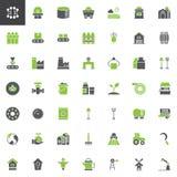 De industrie en de landbouw vector geplaatste pictogrammen vector illustratie