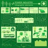 De industrie infographic, elektrische systemen van de machtsenergie, vastgesteld element Stock Afbeelding