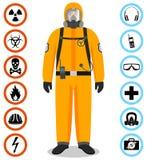 De industrieconcept Gedetailleerde illustratie van arbeider in oranje beschermend kostuum Veiligheid en gezondheids vectorpictogr royalty-vrije illustratie