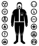 De industrieconcept Zwart silhouet van arbeider in beschermend kostuum Veiligheid en gezondheids vectorpictogrammen Reeks tekens: vector illustratie