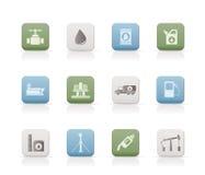De industrieobjecten van de olie en van de benzine pictogrammen Royalty-vrije Stock Foto