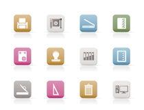 De industriePictogrammen van af:drukken Stock Fotografie