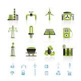 De industriepictogrammen van de macht en van de elektriciteit Stock Afbeeldingen