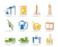 De industriepictogrammen van de olie en van de benzine Stock Afbeeldingen