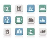 De industriepictogrammen van de olie en van de benzine Stock Afbeelding