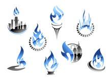 De industriesymbolen van het gas en van de olie Stock Foto