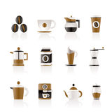 De industrietekens en pictogrammen van de koffie Stock Foto's