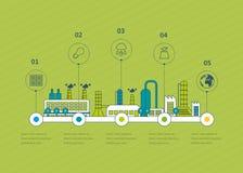 De industriële illustratie van fabrieksgebouwen Royalty-vrije Stock Foto