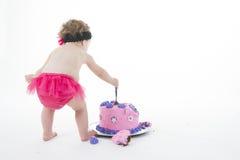 De ineenstortingsspruit van de cake: Het meisje van de baby en grote cake! stock foto
