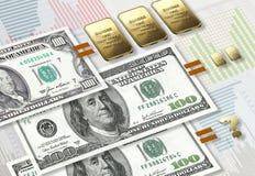 De inflatie van de dollar Stock Foto's