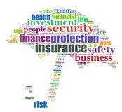 Grafische de info-tekst van de verzekering Stock Foto