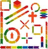 De infografic reeks van het pijlpictogram verschillende kleuren vectorpijlpunten Royalty-vrije Stock Afbeeldingen
