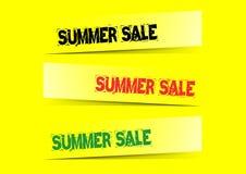 De infographic, gele achtergrond van de de zomerverkoop Eps dossier voor beschikbare winkels Stock Afbeeldingen