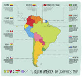 De infographic getrokken hand van Zuid-Amerika Stock Foto's