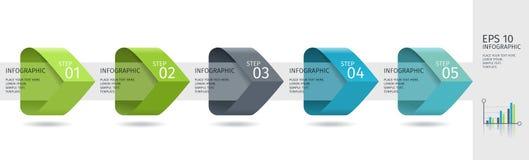 De Infographicpijlen met 5 voeren opties en glaselementen op Vectormalplaatje in vlakke ontwerpstijl vector illustratie