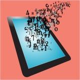 De informatie en de brieven vliegen van tablet Stock Afbeelding