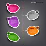 De informatie van de tijdlijn grafisch met gekleurd stickersmalplaatje