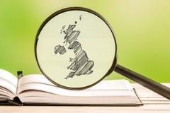 De informatie van het Verenigd Koninkrijk met een potloodtekening Stock Afbeeldingen