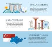 De informatiebanners van Singapore Stock Afbeeldingen