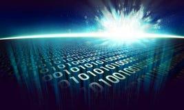 De informatieexplosie op de digitale oppervlakte in cyberspace Royalty-vrije Stock Afbeeldingen
