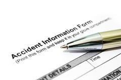 De informatievorm van het ongeval stock foto