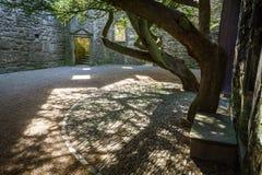 De ingang aan de binnenplaats in een middeleeuws kasteel stock fotografie