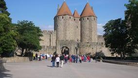 De ingang van Carcassonne stock videobeelden