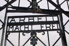 De ingang van Dachau (concentratiekamp) Stock Afbeeldingen