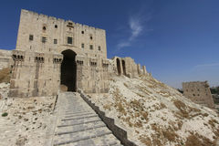 De ingang van de Aleppocitadel Stock Fotografie